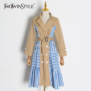 TWOTWINSTYLE Casual Patchwork Striped Trench Coat Female Lapel Collar Long Sleeve High Waist Lace Up Windbreaker Women Tide 201124