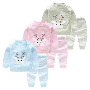 Mioigee 2 pcs bebê menino conjunto de lã malha camisola de algodão meninas meninos conjuntos infantil calças quentes terno recém-nascido roupas de vestuário da criança1