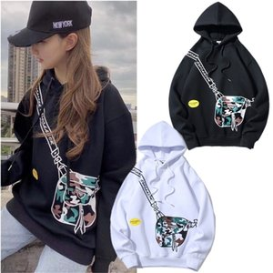 Autumn and winter new ins funny side bag printing loose cover Hooded Sweater men and women Plush couple coat