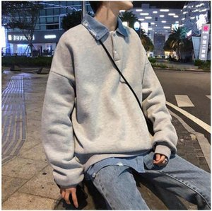 Hoodies Fashion Casual Fake Two Piece Solid Color Long Sleeved Sweatshirts New Arrival Mens Clothing 19AW Mens Designer