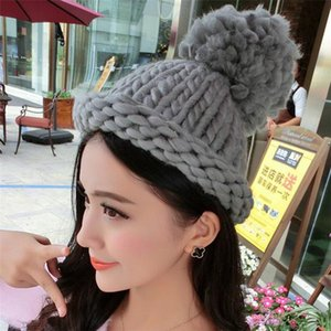 Winter Wool Hand Coarse Beanies Knitted Hat For Women Solid Adult Casual Cotton Acrylic Rushed New Fashion Female