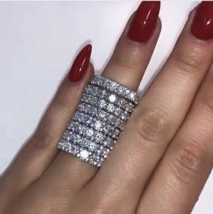 US Size 5-10 Cocktail Unique Fine Jewelry 925 Sterling Silver Fill White Topaz CZ Diamond Gemstones Promise Women Wedding Bridal Ring Gift