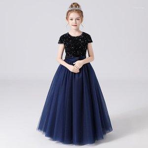 Девочки Формальные платья с длинными рукавами блестки блестки Puchy Tulle день рождения вечеринка платье для дети девушка черные младшие подружки невесты1