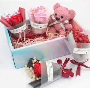 Мини День Святого Валентина подарок высушенный искусственный цветок фальшивый гипсофила букет творческий вечный гипсофила букет мыло цветок PPA3359