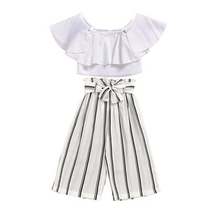 Girl Tops Trousers Suit Lotus Leaf Edge Stripe Frenulum Knickerbockers Fashion Baby Clothing Two Piece Set 25xy J2