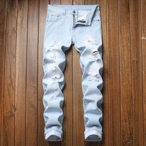 Jh Streetwear Men &#039 ;S Jeans Vintage Blue Gray Color Skinny Destroyed Ripped Jeans Broken Punk Pants Homme Hip Hop Men
