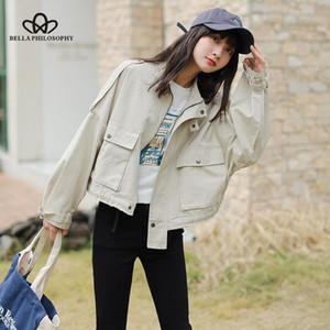 Bella philosophy women loose short coat 2020 Autumn jacket female solid Korean Harajuku zipper tooling single-breasted jacket