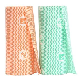 55 folhas / rolagem de toalha de limpeza descartável não tecida 24cm * 30 cm panos descartáveis de limpeza de cozinha eco-friendly toalha molhada e seca BWA3010