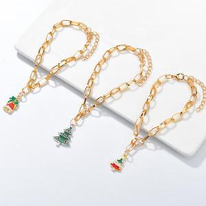3pcs set Santa Claus Bracelet Pendant Christmas Decorations Happy New Year 2020 Christmas Tree Snowman Pearl Ornaments Xmas Gift