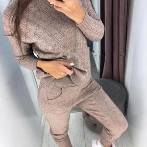 JODIMITTY Woman Suits Wool Warm Knitted Sets Turtleneck Twist Sweater+pant Two Piece Set Female Winter Suit Woman Sport Costumes1