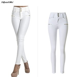 Wholesale- YiQuanYiMei Fashion Pencil Pants white jeans for women Skinny high waist jeans woman denim pants capris Jean pantalon femme