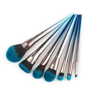 7PCS Flame Diamond Makeup Brush Sets With Mental Handle Blue dark Soft Brush Face Make Up Brush Eyebrow eyeshadow Powder Makeup Brushes Tool