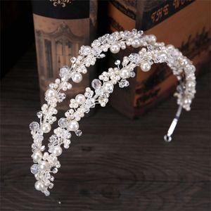 Tuanming Beyaz Inci Kristal Gelin Hairbands Tiaras Gelin Saç Takı için Düğün Taç Bandı Düğün Aksesuarları Saç Y1130