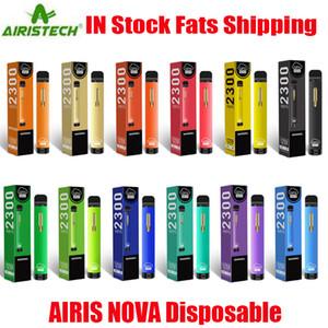 정통 AIRIS NOVA 일회용 포드 디바이스 키트 2300 퍼프 1250mAH 배터리 7ml PRIGHILLED VAPE 스틱 펜 바 플러스 BANG XXL MAX 100 % 정품