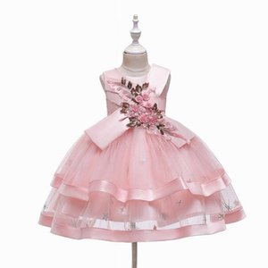 Embroidered Party 2020 Summer Layered Fluffy Tulle Bow Flower Girl Dress for Wedding Baby Clothes 2-10Y E5707 Q1118