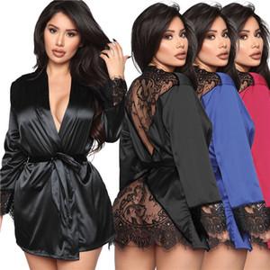 Womens Dentelle Sleepwear Sexy Voir à travers Cardigan Home Wear Peignoir Mode Femmes Sexy Femmes Pyjamas