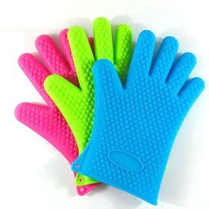 Cuisine four micro-ondes gants de cuisson de cuisson thermique antidérapant silicone à cinq doigts Gants non toxiques résistants à la chaleur GWF4185