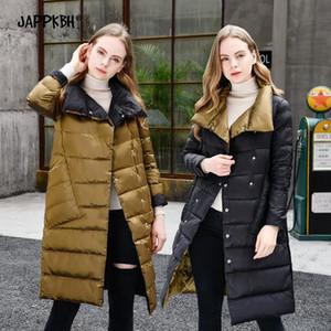 Женский вниз Parkas 90% белая утка легкая куртка женщин 2021 осень зима обе стороны носить длинное пальто женский повседневный размер плюс теплый