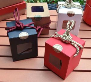 Creative design kraft paper gift box With Clear Window Rope honey jam tea brown sugar box Candy Box HWE3122