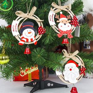 1Pcs Creative Santa Clause& snowman Wooden Christmas Pendants Ornament For Christmas Tree Ornaments Decoration Kids Toys
