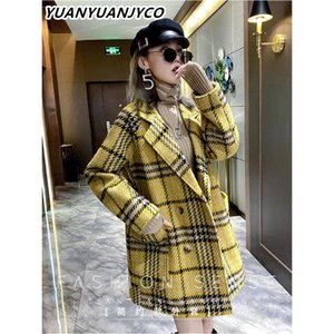 YUANYUANJYCO Winter Women Long Streetwear Woolen Coat LNZDY50 Turn-Down Collar Button Long Sleeve Loose Tweed Plaid Jacket
