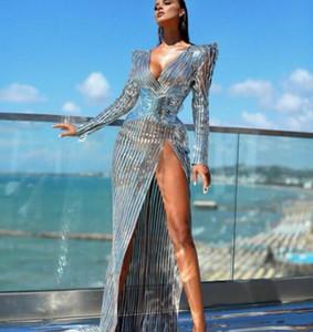 Women dress Fur dress Silver Fur Evening dress V-Neck High shoulder Split Yousef aljasmi Kim kardashian Lenaberisna