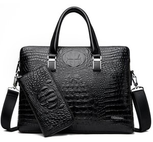 2020 New Cross-Border Mens Business Handbag Cross Crocodile Double Zipper Casual Hand Briefcase Shoulder Messenger Bag