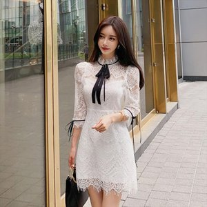 Brand Dress Womens 2020 Summer Plus Size Kawaii Black White Elegant Korean Style Clothing Fashion Lace Patchwork Dresses