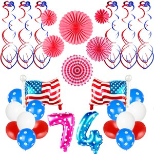 Independence Day Balloon Set Aluminum Foil Balloon Number 7 4 Letter USA Flag Sequin Balloons Birthday Wedding Party Decoration VT0247
