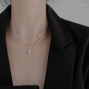 S925 Sterling Silver Necklace for Women Star Moon Double Layer New Clavicle Chain In 2020 Jewelry Wholesale1