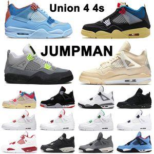 Union retro 4 4s JUMPMAN Scarpe da basket Neon Sail guava blu ghiaccio Black Cat Metallic Pack Coo Grey Neon mens womens trainer sneaker sportive