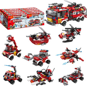 8in1 City Fire Building Blocks DIY Small Particle Brigade Helicopter Station Trucks Cars Bricks Toys Kids Educational Christmas Gift