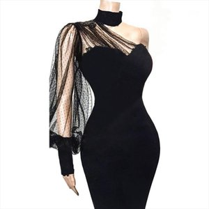 Sexy One Shoulder Slope Long Sleeve Dress Black Mesh Patchwork Party Transparent Women Vestido Bodycon Event Backless Celebrate