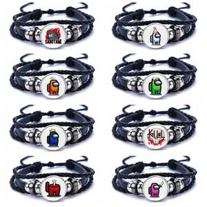2020 Hot Game Among Us Bracelet For Men Women Kids Unisex Adjustable Black PU Leather Bracelets Family Christmas Gift Party Favor