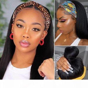 Allove Yaki Straight None Lace Wigs Kinky Curly Wig Loose Deep Water Body Wave Human Hair Wigs with Headbands for Black Women