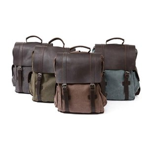 Vintage Canvas with Genuine Leather Backpack Men School Backpack Wearproof Travel Bookbag 15.6 Laptops Rucksacks Women