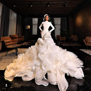 Muslim Mermaid Wedding Dresses Wave Details High Neck Long Sleeves Ruffles Long Train vestidos de novia Middle East African Bridal Gowns