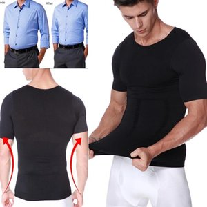 Mens Burn Sweat T-Shirt Slimming Abdomen Body Shaper Corrective Posture Tummy Control Compression Underwear Muscle Shaping