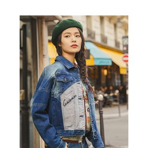 INMAN 2020 Autumn New Arrival Fashion Retro Style Patchwork Women Jeans Jacket Coat