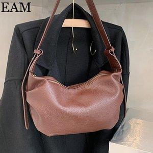 Lux Vintage PU Solid Leather Bags Handbags Hand 8B202 Crossbody Trend For Shoulder Hobos Women Bag [EAM] Color Bag 2021 Sluom Unutj