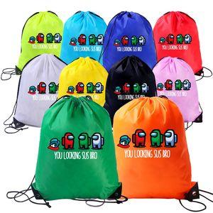 우리 중에는 애니메이션 게임 가방 아이들을위한 만화 Drawstring 배낭 소년 소녀 방수 Drawstring 가방 어린이 휴대용 주최자 배낭 E112301