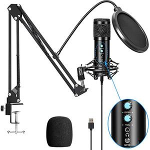 Micrófono USB de condensador profesional con soporte para laptop Karaoke Cantaje Streaming Gaming Podcast Studio Grabación Mic