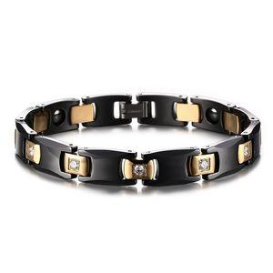 10MM High Quality Retro Lady's Ceramic Zircon Bangle Stainless Steel Hematite Bracelet Watchband Jewelry Gift for Men Women J009