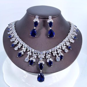 2021 new fashion luxury blue water drop cz zircon necklace earrings,wedding bride dinner party dress jewelry free shipping
