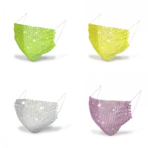 50pcs Fashion Colorful Mesh Masks Bling Diamond Party Mask Rhinestone Grid Net Mask Washable Sexy Hollow Mask for Women 115 J2