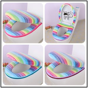 2PCS SET Colorful Rainbow Stripe Thermal Zippered Toilet Seat Cushion Bathroom Potty Set Toilet Seat Cover O Ring Toilet Set Mat Y1124