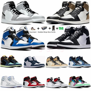 Nike Air Jordan Retro 1 High Travis Scotts Low Designer Herren-Basketball-Schuhe 1s UNC Jumpman Sport-Turnschuhe mit Kasten Sportschuhe Designer Trainers Chaussures
