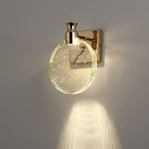 Modern minimalist  bubble crystal wall lamp creative bedroom bedside living room background wall golden aisle light led