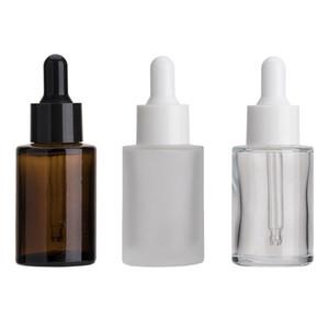 30ml Glasflasche Flache Schulter Mattiert / Transparent / Bernsteinglas Runde ätherisches Öl Serumflasche mit Glas Troppfe Kosmetische Essenz