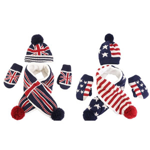 Toddler Kids 3 Pieces Winter Warm Beanie Hat Long Scarf Gloves Set USA American UK British Flag Knitted Pompom Skull Cap
